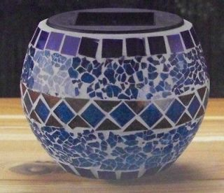 LED Mosaic Glass Table Top Patio Candle Spectrum Color Changing Blu