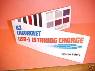 1983 CHEVROLET CAR CAMARO COLOR PAINT CHIPS CHART 83