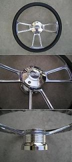 CHEVY horn billet steering wheel & adapter 4 Chevy Ididit Flaming rivr