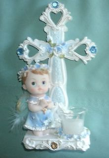 LARGE BABY ANGEL IN BLUE FOR BAPTISM NICE CENTERPIECE with candle