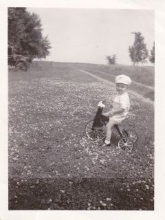 Vintage Old Photo Cute Little Boy on Antique Tricycle Field of Flowers