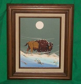 TRUMAN LORENTZ AMERICAN INDIAN ART OIL PAINTING BUFFALO BISON WINTER
