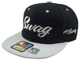 NEW VINTAGE SWAG FLAT BILL SNAPBACK BASEBALL CAP HAT BLACK/WHITE