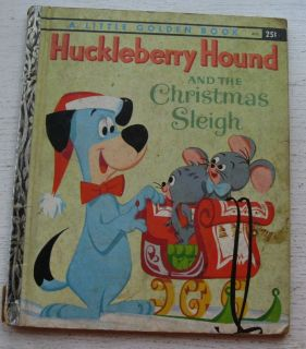 Little Golden Book Huckleberry Hound & The Christmas Sleigh A Copy