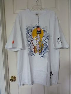 3X MARTIN KSOHO RMC WHITE GRAPHIC SILK SCREEN TEE SHOGUN JAPANESE ART
