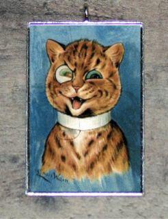 Louis Wain HIPSTER CAT w MONOCLE art PENDANT ornament 4 necklace