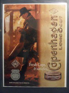 Ad Copenhagen Smokeless Long Cut Chewing Tobacco Cowboy in Shadows