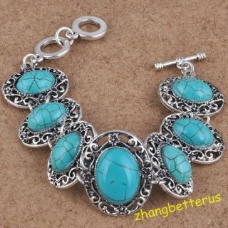 Tibet Silver Turquoise Beads Gemstone Bracelet Bangle charms Jewelry