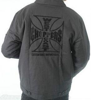 WEST COAST CHOPPERS MENS WORKER JACKET MALTESE CROSS GREY VINTAGE
