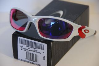 NEW Oakley Straight Jacket Sunglasses White Chrome Positive + Red