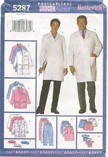 5287 Unisex Scrubs Sewing Pattern Coat Jacket Skirt Pants Hat Pocket