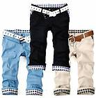 Mens classic Plaids Roll up Cropped pants Straight Capri pants Shorts