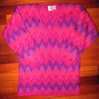 CHERRY & WEBB Fuzzy Vibrant Warm Wool Mohair Sweater Pink Purple V