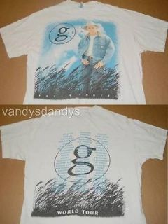 vtg 1996 90s garth BROOKS fresh HORSES concert TOUR shirt 2 sided