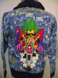ED HARDY BY CHRISTIAN AUDIGIER MENS DUAL SKULL BIKE HOODIE EMBROIDERY