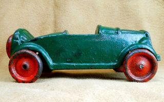 Vintage 1930s Cast Iron Roadster Car Painted Green with Red Wheels