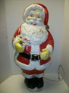 Poloron 31 Santa Claus Lighted Blow Mold Christmas Yard Decoration