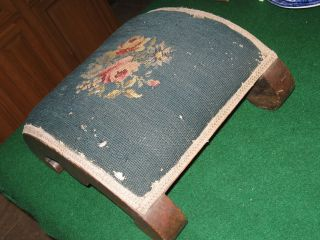 ANTIQUE VICTORIAN FOOT STOOL WITH PINK ROSE NEEDLEPOINT COVERING