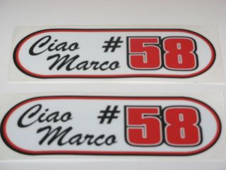 Marco Simoncelli 58 ciao marco bike sticker decals X 2 stickers