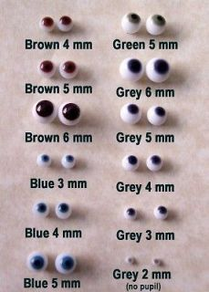 MOREZMORE Small Glass Eyes OOAK Polymer Clay Doll Fairy Baby 3 mm Grey