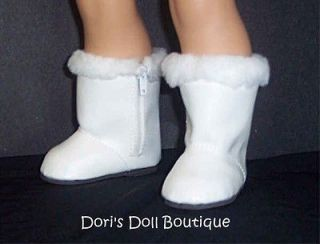 DOLL CLOTHES FITS AMERICAN GIRL WHITE BOOTS WITH FAUX FUR TRIM