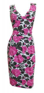 Pink Grey Rose Print Stretch Shift Dress Lorelei Size 10 New