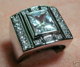 Mens Championship class CZ ring white gold overlay 11