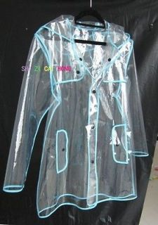 women Mens Girls Boys Rain Coat PVC Transparent Runway Style clear