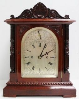 ENGLISH CARVED MAHOGANY 19THC LONDON DOUBLE FUSEE BRACKET CLOCK M1