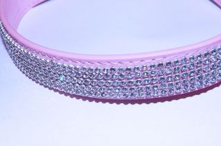 Pink Diamante Dog Collar Leather diamond studded buckle FREE FIRST