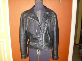 Vintage Route 66 Womens Black Leather Fringed Motorcycle Jacket Size