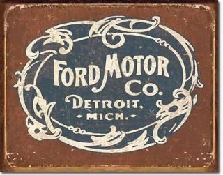 NEW VINTAGE STYLE FORD MOTOR COMPANY DETROIT MICHIGAN TIN METAL SIGN