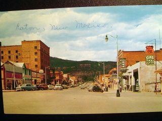 Raton NM Street Scene Postcard 1950s