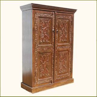 Solid Wood Hand Carved Storage Armoire Clothes Wardrobe Closet w 3