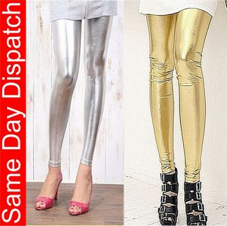 Womens Full Length Metallic Coloured Leather Pattern Sexy Leggings