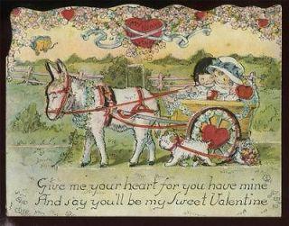 Antique Stand Up c1910s VALENTINE Die Cut Boy & Girl in MULE Drawn