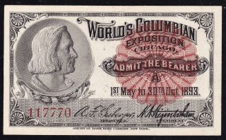 Columbus COLUMBIAN EXPOSITION TICKET Chicago World Fair 1893 Ch CU