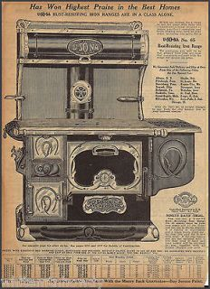 1915 U SO NA Wood Cooking Cook Stove Antique Kitchen Range AD