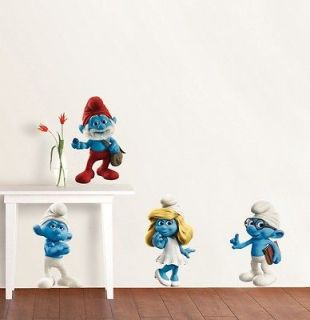 THE SMURFS Movie Decal Removable WALL STICKER Mural Kids Four Figures