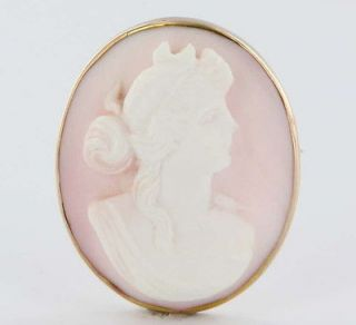 Antique Victorian Carved Coral Cameo Gold Pendant Brooch Pin Vintage