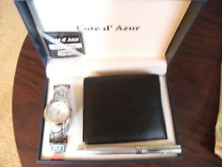 COTE D AZUR MANS WATCH & LEATHER WALLET & PEN SET   NEW AND NEVER