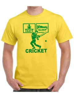 Eat Sleep Cricket T Shirt with gloves ball shoes helmet bat with