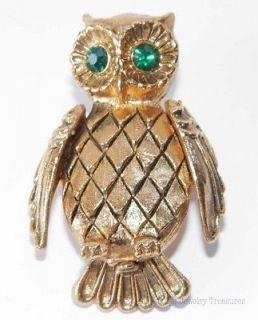 Vintage Vanda Owl Gold Tone Solid Perfume Pin Rhinestone Eyes