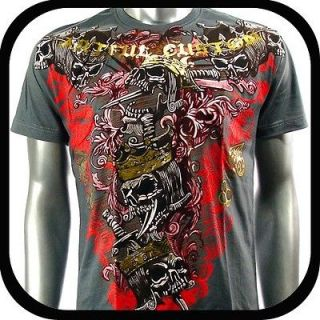 Artful Couture T Shirt Tattoo Skull Punk Rock AG19 Sz M Graffiti