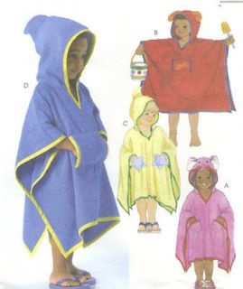 Boys Girls Cover Ups Sewing Pattern Hood Elephant Dog Fish Shark