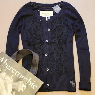 Abercrombie A&F Womens Lace Classic Button Sweater Cardigan Top Jumper