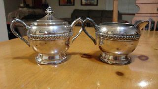 Antique F B Rogers Silver Co. Silver on Copper Sugar and Creamer set