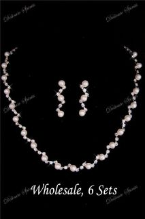 Six Necklace Earring Sets Swarovski Rhinestone White Pearl Prom Bridal