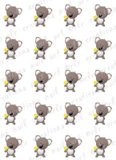 KOALA BEAR WATER SLIDE NAIL ART DECALS  GREAT FOR KIDS OR ADULTS NAILS