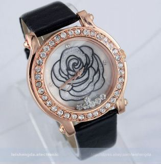 Crystal Rose Leather Fashion Quartz Wrist Watch Men Lady Women 6